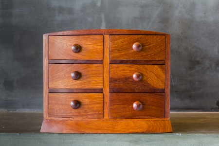 antique furniture: Vintage wooden chest with drawer on shelf