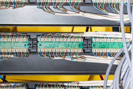 Close up of cable and wiring in server photo