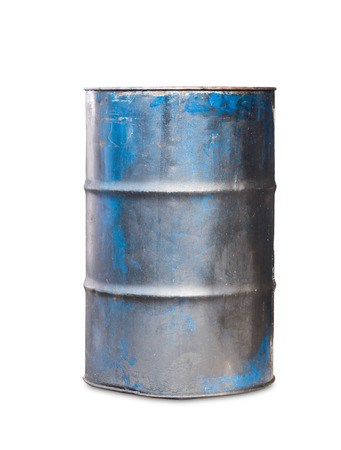 Old metal oil barrel on white background with clipping path photo