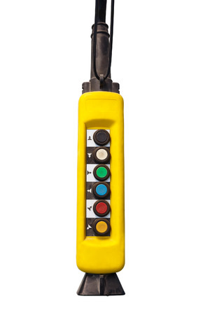 Movement remote control pendant switch for overhead crane in the yellow over head pendant switch on white background photo mozeypictures Choice Image