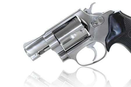 Close up of revolver with clipping path