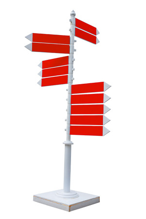 Blue and white traffic sign on metal stand for direction with clipping path photo