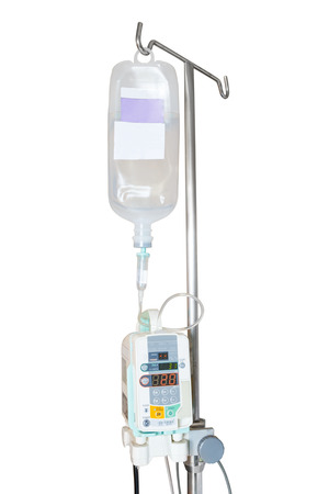 Isolated infusion pump and IV hanging on pole with clipping path Stockfoto
