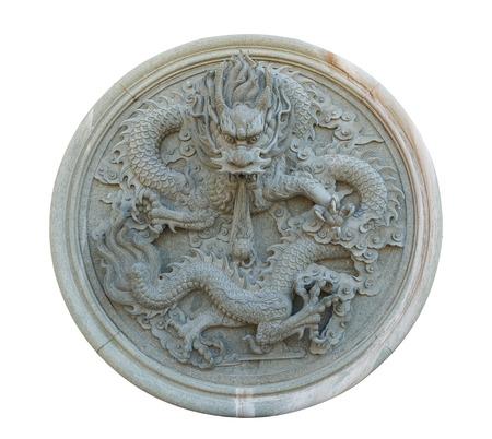 Старинные китайские камень статуи дракона на белом с отсечения путь Фото со стока