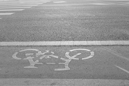 Bicycle lane (path) beside of the road Stock Photo