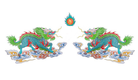 parer: Painted of colorful Chinese dragon with fire on white background Stock Photo