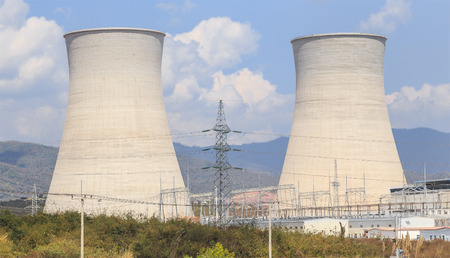 Cooling tower of nuclear power plant in asia photo