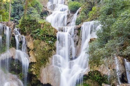 tat: Tat Kuang Si Waterfalls in summer at Luang Prabang, Laos Stock Photo