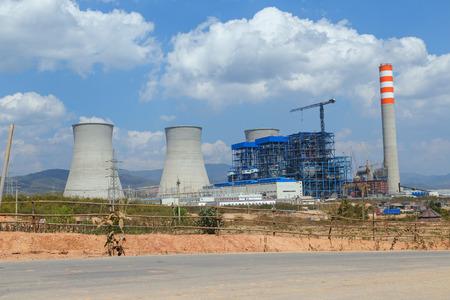 Lignite power plant under construction in Laos photo