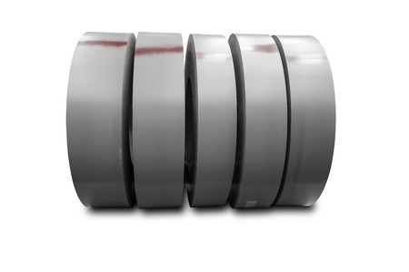 metallurgic: Rolls of metal sheet on white with clipping path
