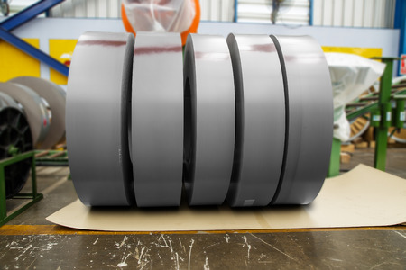 Rolls of metal sheet before cutting Stock Photo