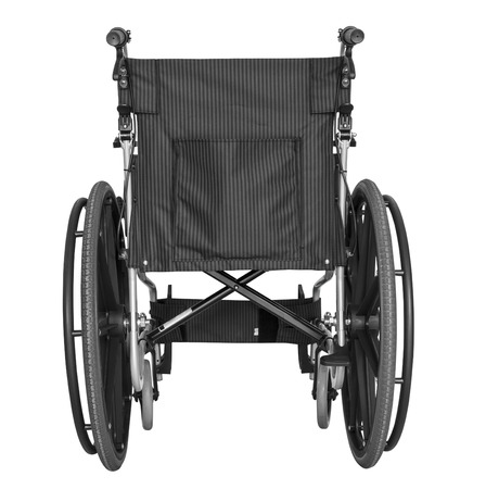 Wheel chair: Black wheelchair on white background with clipping path