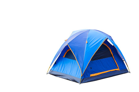 Isolated blue dome tent with clipping path