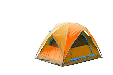 격리 된 오렌지 돔 텐트