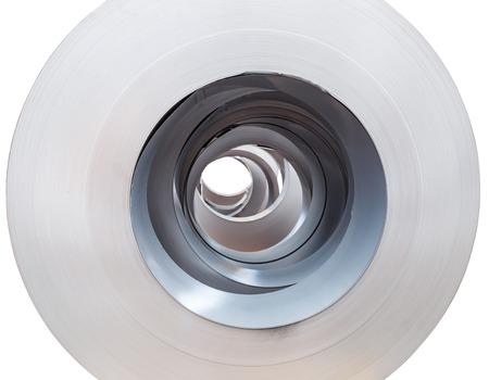 metal sheet: Close up Rolls of metal sheet  on white Stock Photo