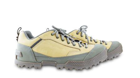 zapatos de seguridad: Zapatos de seguridad Ingeniería aislado en blanco con trazado de recorte