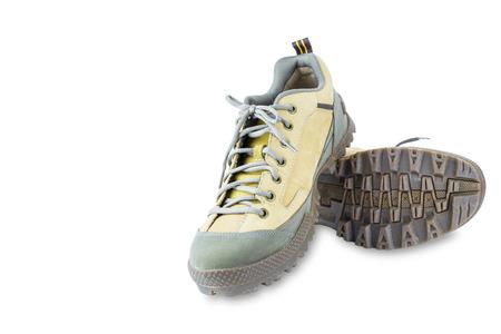 zapatos de seguridad: Zapatos de seguridad Ingenier�a aislado en blanco con trazado de recorte