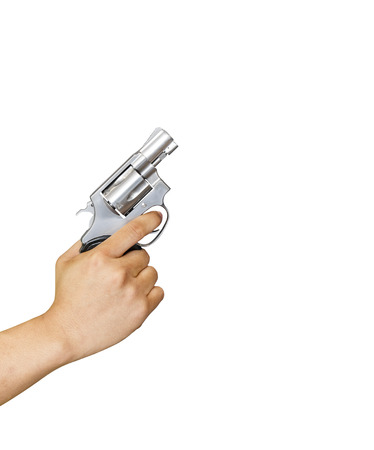 38: Isolated hand holding .38 revolvers with clipping path