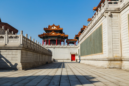 chinese temple: Beautiful pavilion on wall on Chinese temple Stock Photo
