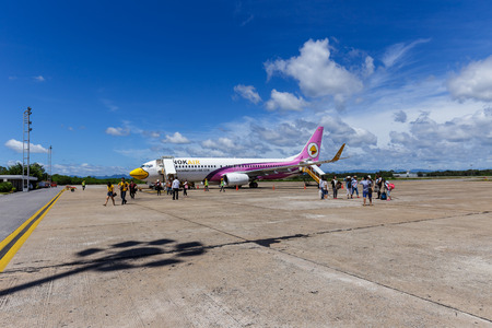 SURAT THANI, THAILAND - 12 SEPTEMBER 2015 - Boeing 737-800 of Nokair landed with passangers at Surat Thani airport Thailand. Nokair is the low cost airline in Thailand.