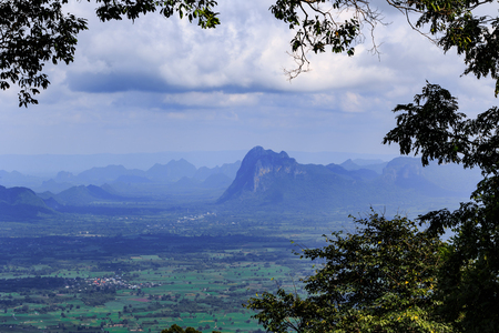 scarp: View of mountains from Phu Kradueng National Park, Loei, Thailand Stock Photo