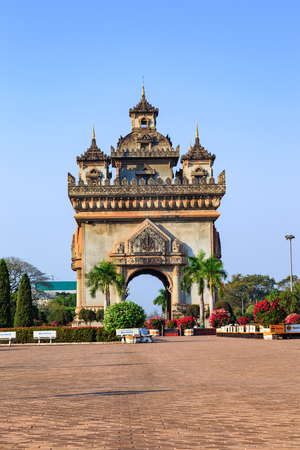 literally: Patuxay literally meaning victory gate in vientiane, Laos Stock Photo