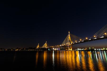 Bhumibol Bridge or Industrial Ring Road bridge at twilight Фото со стока