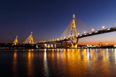 bhumibol: Bhumibol Bridge or Industrial Ring Road bridge at twilight Stock Photo