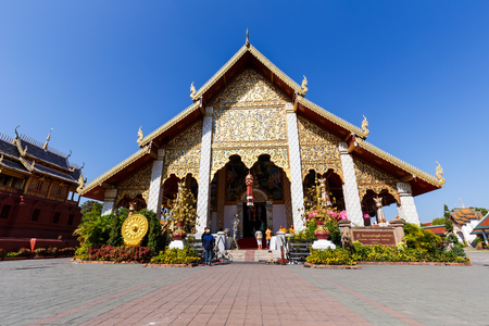 hariphunchai: LUMPHON, THAILAND - JANUARY 31: Ordination Hall in Wat Phra That Hariphunchai  on Januay 31, 2016 in Lumphon, Thailand