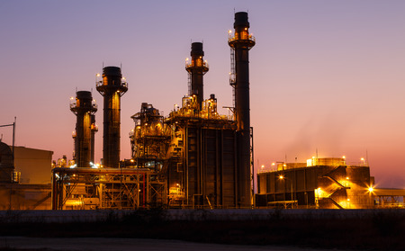 gas turbine: Gas turbine electrical power plant at dusk with light Stock Photo