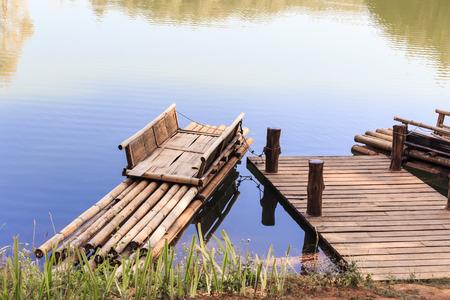 raft: Bamboo raft in lagoon