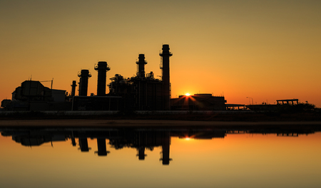 gas turbine: Gas turbine electrical power plant with sunset  at dusk