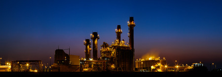 Gas turbine electrical power plant at dusk with light , panorama view Stock Photo