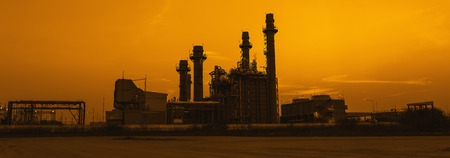 gas turbine: Gas turbine electrical power plant at dusk, panorama view Stock Photo
