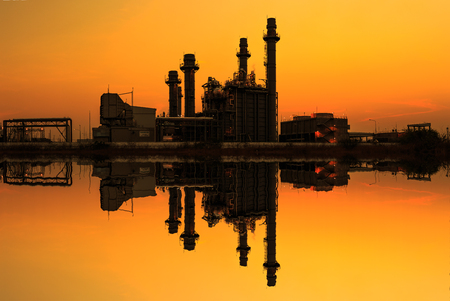 gas turbine: Gas turbine electrical power plant at dusk with reflect , panorama view