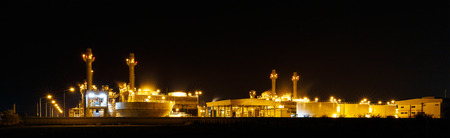 gas turbine: Gas turbine electrical power plant at night  with light