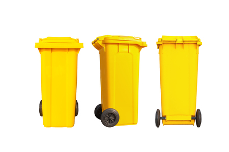 big bin: Isolated big yellow garbage bin or trash can and black wheels in three dimension with clipping path