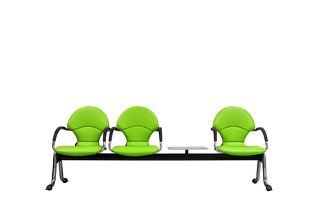 Isolated green modern seats with clipping path