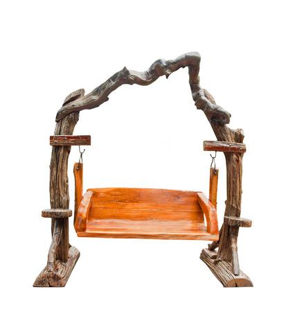 balançoire en bois isolé pour les meubles de jardinage avec chemin de détourage Banque d'images