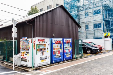 TOKYO ,JAPAN - OCTOBER 8: Street beverage vending machines , OCT 8,2016, Tokyo, Japan.  Street beverage vending machines