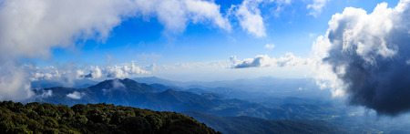 Panorama scenery and bright sky with cloud over high mountain