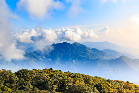 Scenery and bright sky with cloud over high mountain in north of Thailand