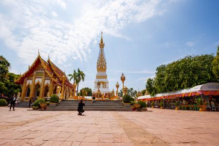 NAKHON PRANOM, THAILAND - MARCH 26: Wat Phra That Phanom Buddhist  temple, MAR 26,2016, Nakhon Pranom, Thailand.  Wat Phra That Phanom Buddhist  temple