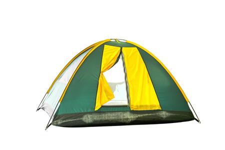 クリッピングパス付き白の孤立した緑と黄色のドームテント