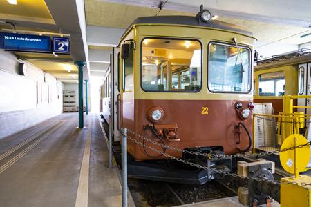 MURREN BERNE, SWITZERLAND- APRIL 24:Traditional train in Mürren mountain railway station , APRIL 24,2018, Berne, Switzerland. Traditional train in Mürren mountain railway station