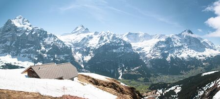 jungfrau, eiger, monch peak of Alps mountain looking from First peak at Grindelwald Bern Switzerland