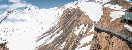 Sky cliff walk at First peak of Alps mountain with snow, Grindelwald, Bern Switzerland