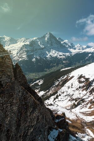 Alps mountain at Switzerland, looking from Sky cliff walk on First peak Grindelwald 版權商用圖片