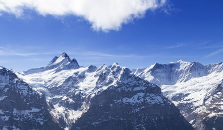 Sky cliff walk at First peak of Alps mountain Grindelwald Switzerland with jungfrau, eiger, monch peak