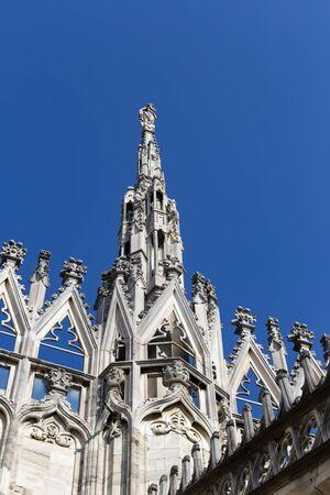 Aerial view of statue from Milan  Cathedral Duomo rooftop terrace, Italy Europe